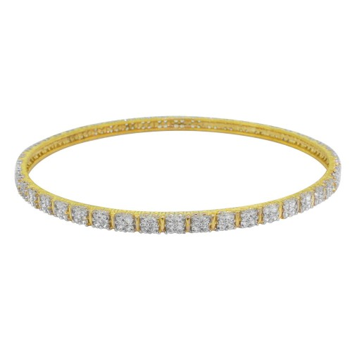 """Cubic Zirconia Bangle, Sterling Silver 8.5"""" Length"""
