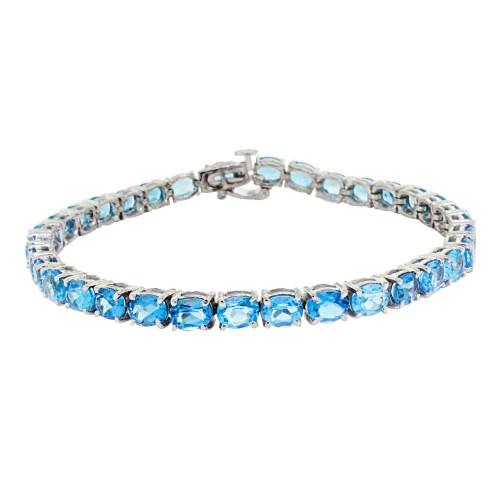 15.35 ct.t.w.5x4MM Genuine Blue Topaz Bracelet Sterling Silver