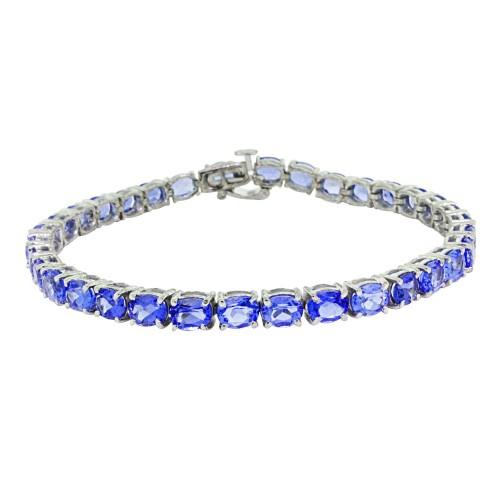 11.48 ct.t.w.6x4MM Genuine Amethyst Bracelet Sterling Silver