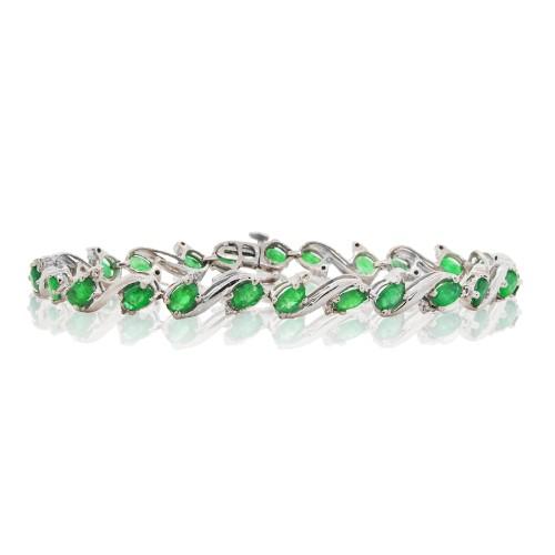5.32 ct.t.w.Genuine Emerald and Diamond Bracelet Sterling Silver