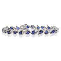 6.85 ct.t.w.5X3MM Genuine Sapphire and Diamond Bracelet Sterling Silver