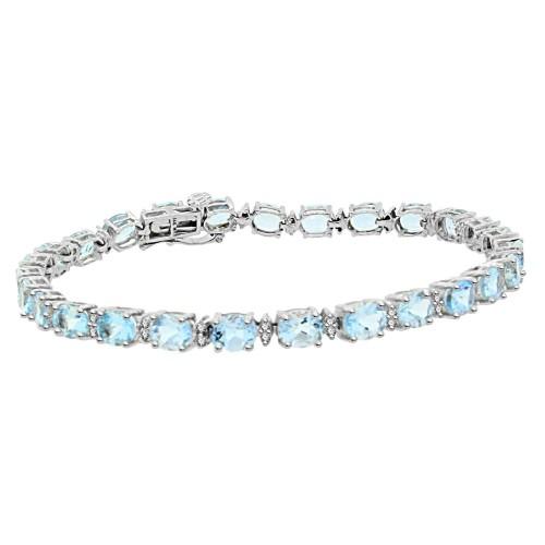 Genuine Aquamarine and Diamond Bracelet 10Kt White Gold 8.28 ct.t.w.
