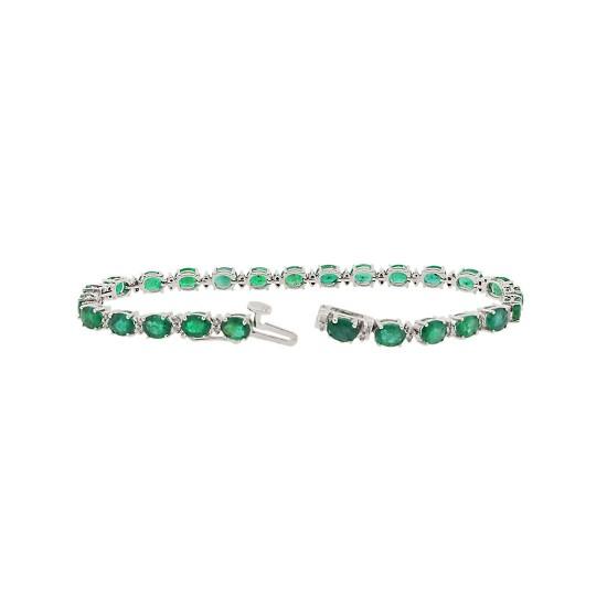 Genuine Emerald Diamond Bracelet Sterling Silver 8.51 ct.t.w.