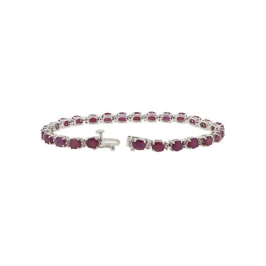 Genuine Ruby and Diamond Bracelet 14Kt White Gold 10.55 ct.t.w.