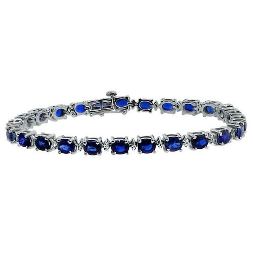 Genuine Sapphire and Diamond Bracelet 14Kt White Gold 10.78 ct.t.w.5X4MM