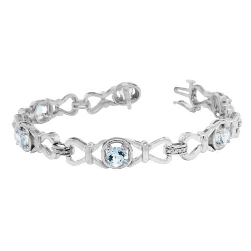 3.28 ct.t.w.5MM Genuine Aquamarine Bracelet Sterling Silver