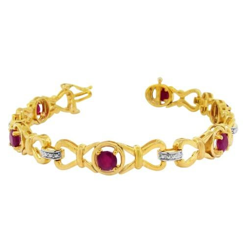 4.70 ct.t.w.5MM Genuine Ruby Bracelet Sterling Silver