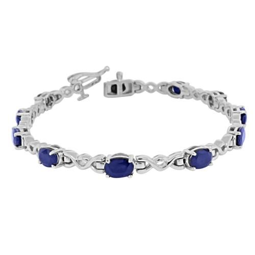 6.57 ct.t.w.6x4MM Genuine Sapphire Infinity Bracelet Sterling Silver