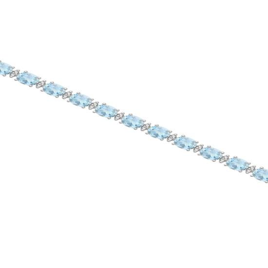 Genuine Aquamarine and Diamond Bracelet 14Kt White Gold 5.87cttw