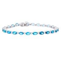 Blue Topaz and Diamond Bracelet 14Kt White Gold 5.87 ct.t.w