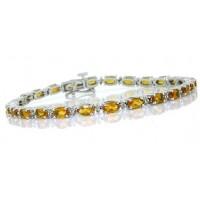 Citrine and Diamond Bracelet 14Kt White Gold 5.87 ct.t.w