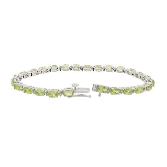 Peridot and Diamond Bracelet 14Kt White Gold 8.48 ct.t.w