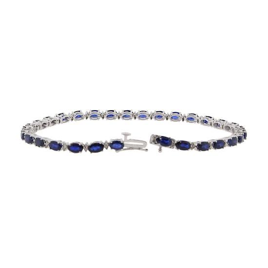 Blue Sapphire Diamond Bracelet 14Kt White Gold 8 inches 10.05 ct.t.w.5X3MM