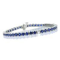 Blue Sapphire Tennis Bracelet 14Kt White Gold 10.90 ct.t.w