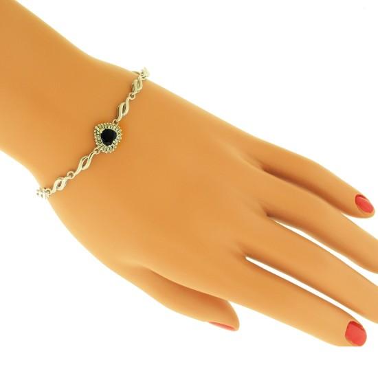 Genuine Sapphire and Diamond Heart Bracelet 14Kt White Gold 1.20 ct.t.w
