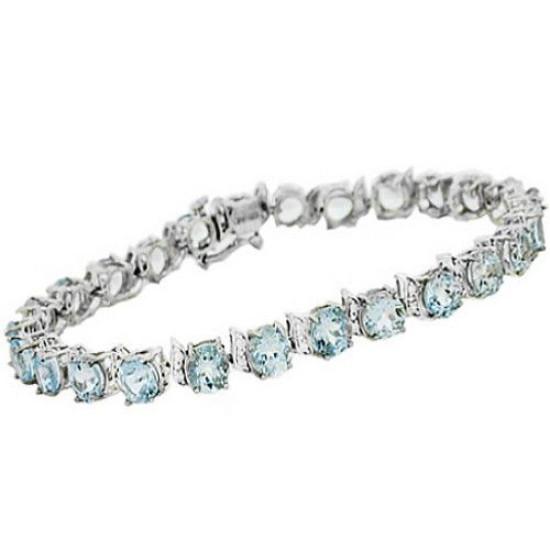 Genuine Aquamarine Diamond Bracelet Sterling Silver 17.28 ct.t.w