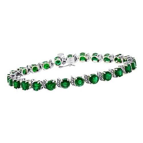 10.34 ct.t.w.5MM Round Shaped Genuine Emerald and Diamond Bracelet 14Kt White Gold