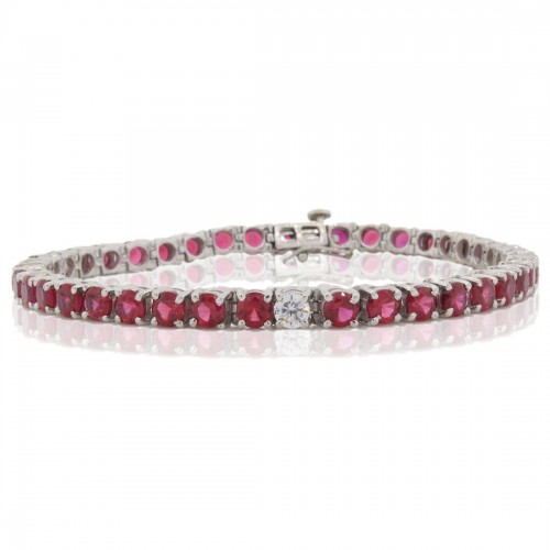 13.95 ct.t.w.4MM Created Ruby and Cubic Zirconia Bracelet Sterling Silver