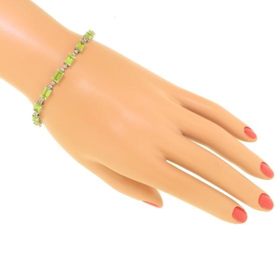Peridot and Diamond Bracelet 10Kt White Gold, 10.44cttw Emerald Cut