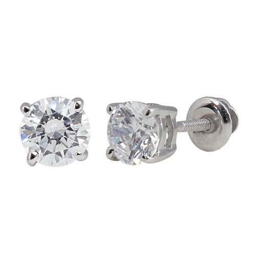 6mm 2.90 ct TW Screwback Stud Earrings, Swarovski CZ, Sterling Silver