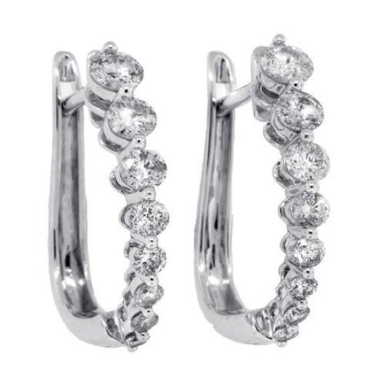 1ct Diamond Huggie Hoop Earrings in 14kt White Gold
