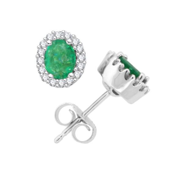T W Genuine Oval Emerald Diamond Halo Earrings 14kt White Gold