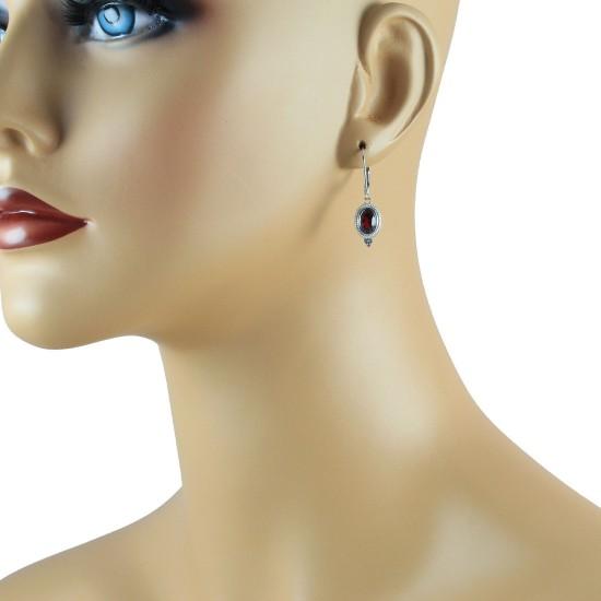 Genuine Garnet and Cubic Zirconia Earrings,Sterling Silver