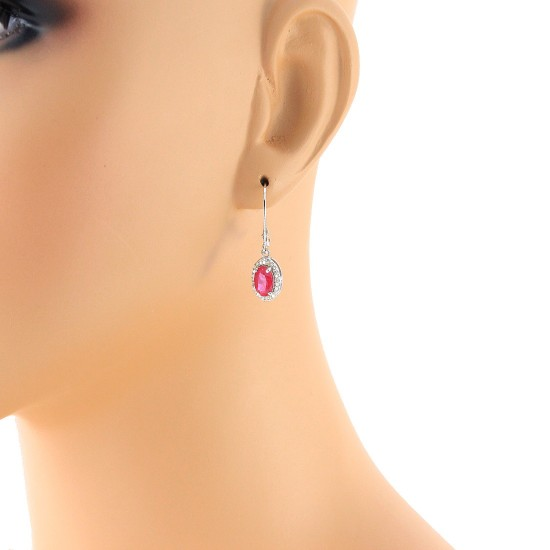 2.68 ct.t.w.Created Ruby and Genuine Diamond Earrings Sterling Silver