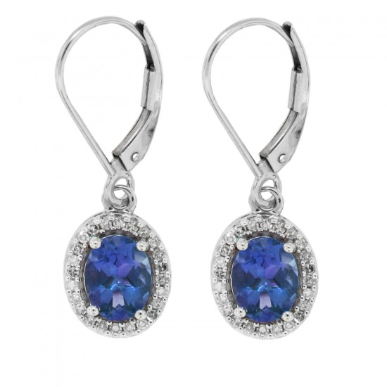 14Kt Gold Oval Blue Sapphire and Diamond Drop Dangle Earrings
