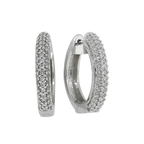 Cubic Zirconia Huggie Hoop Earrings in Rhodium Plated Sterling Silver