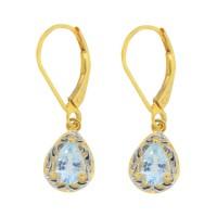 1.30 ct.t.w.Teardrop shaped Genuine Aquamarine Dangle Earrings Sterling Silver