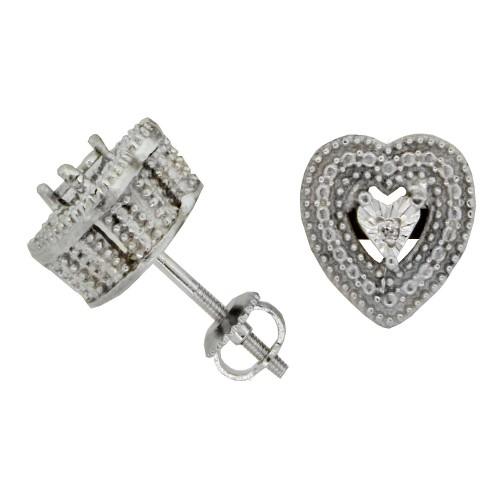 Antique Look, Diamond Stud Earrings, Sterling Silver