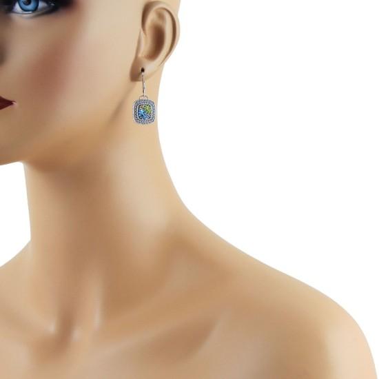 Blue Topaz Peridot Citrine Multi Gemstone Earrings Sterling Silver