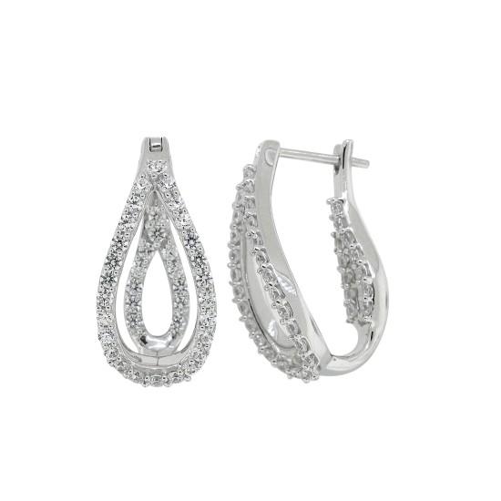 Cubic Zirconia Drop Earrings in Rhodium Finish Sterling Silver