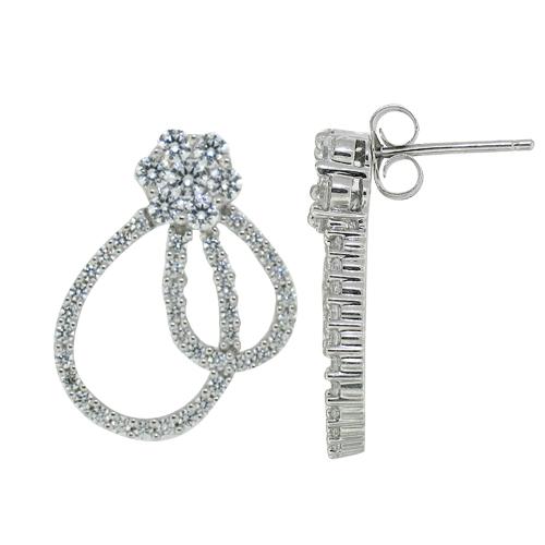 Cubic Zirconia Fashion Earrings Sterling Silver