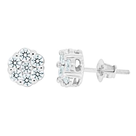 Cubic Zirconia Cluster Stud Earrings Sterling Silver