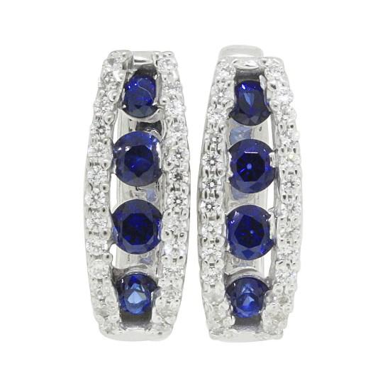 Sapphire and Cubic Zirconia Hoop Earrings Sterling Silver