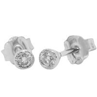 1/15 Carat TW.Bezel Set Antique Genuine Diamond Stud Earrings 14Kt White Gold (GH/SI1)