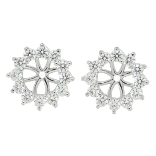 Cubic Zirconia Earring jacket ,Sterling Silver
