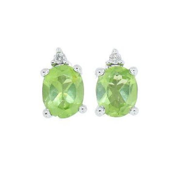 T W Genuine Peridot And Diamond Stud Earrings 14kt White Gold
