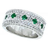 1.12 ct.t.w.Genuine Emerald Diamond Band 10Kt White Gold