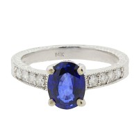 Natural Sapphire Diamond Engagement Ring in 14Kt White Gold