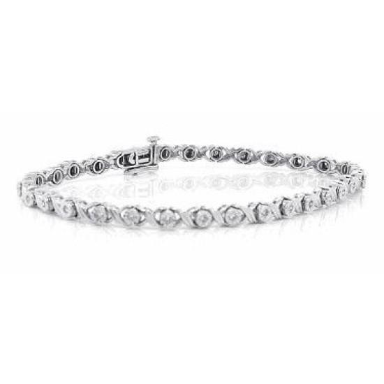 Womens Diamond Bracelet 10Kt White Gold, 0.30cttw