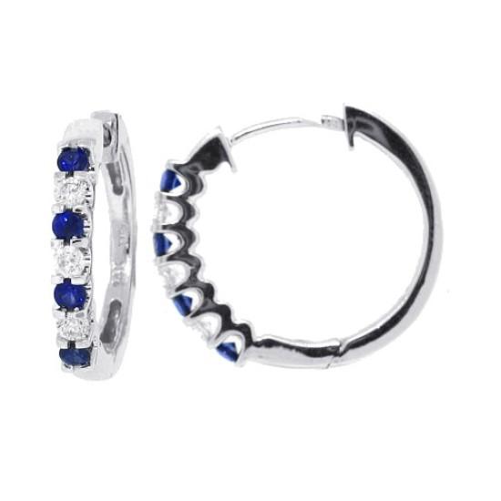 Blue Sapphire and Diamond Hoop Earrings in 14Kt White Gold