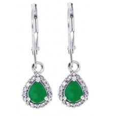 0.72 ct.t.w.Pear Shaped Genuine Emerald Diamond Dangle Earrings 10Kt White Gold