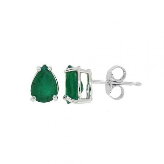 14Kt Gold Pear Shaped Genuine Emerald Earrings (AB Quality) with PushBacks