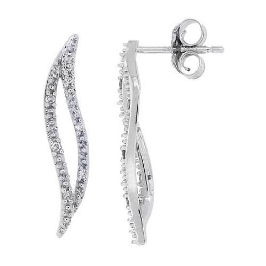 Diamond Fashion Drop Earrings in 10Kt White Gold