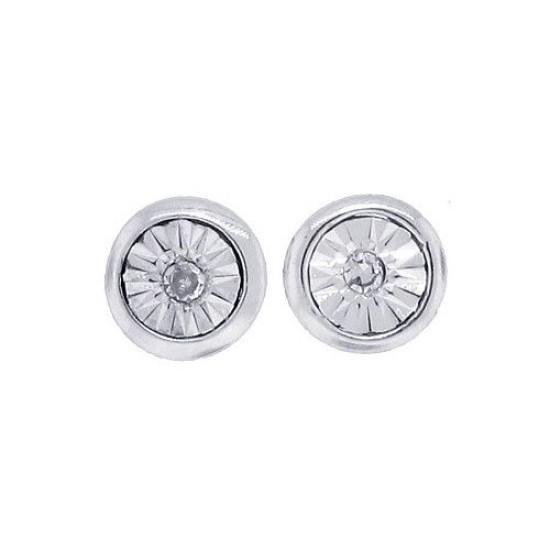 Round Diamond Stud Earrings in 14Kt White Gold