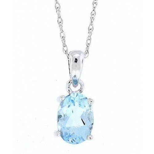 1.10 ct.t.w.Genuine Aquamarine Pendant Necklace Sterling Silver