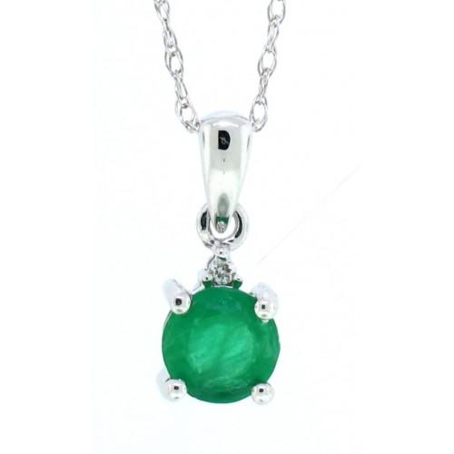 0.44 ct.t.w.Genuine Emerald and Diamond Pendant Necklace 14Kt White Gold